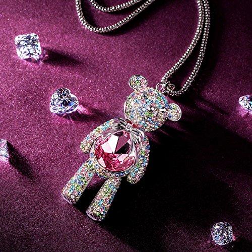 JNINA Bear Princess Made with Pink Swarovski Crystals Cute Bear