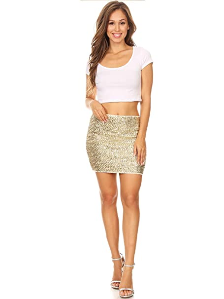 d39a67be2a43 Anna-Kaci Womens Vegas Night Out Sleek Stretch Shiny Sequin Mini Pencil  Skirt, Champagne