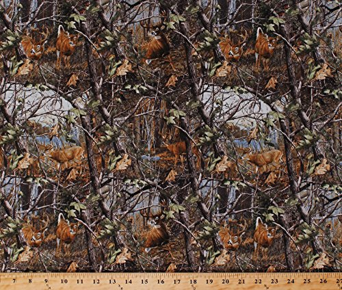 (Cotton Realtree Deer in the Woods Camouflage Camo Hunting Cotton Fabric Print by the Yard (10152))