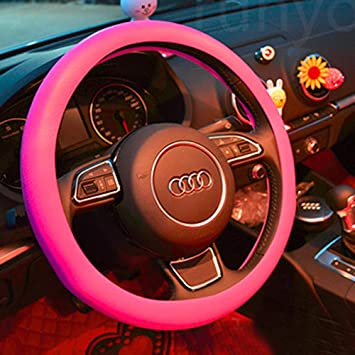 Pink Leather Texture Auto Car Silicone Steering Wheel Cover Protector 36-40cm