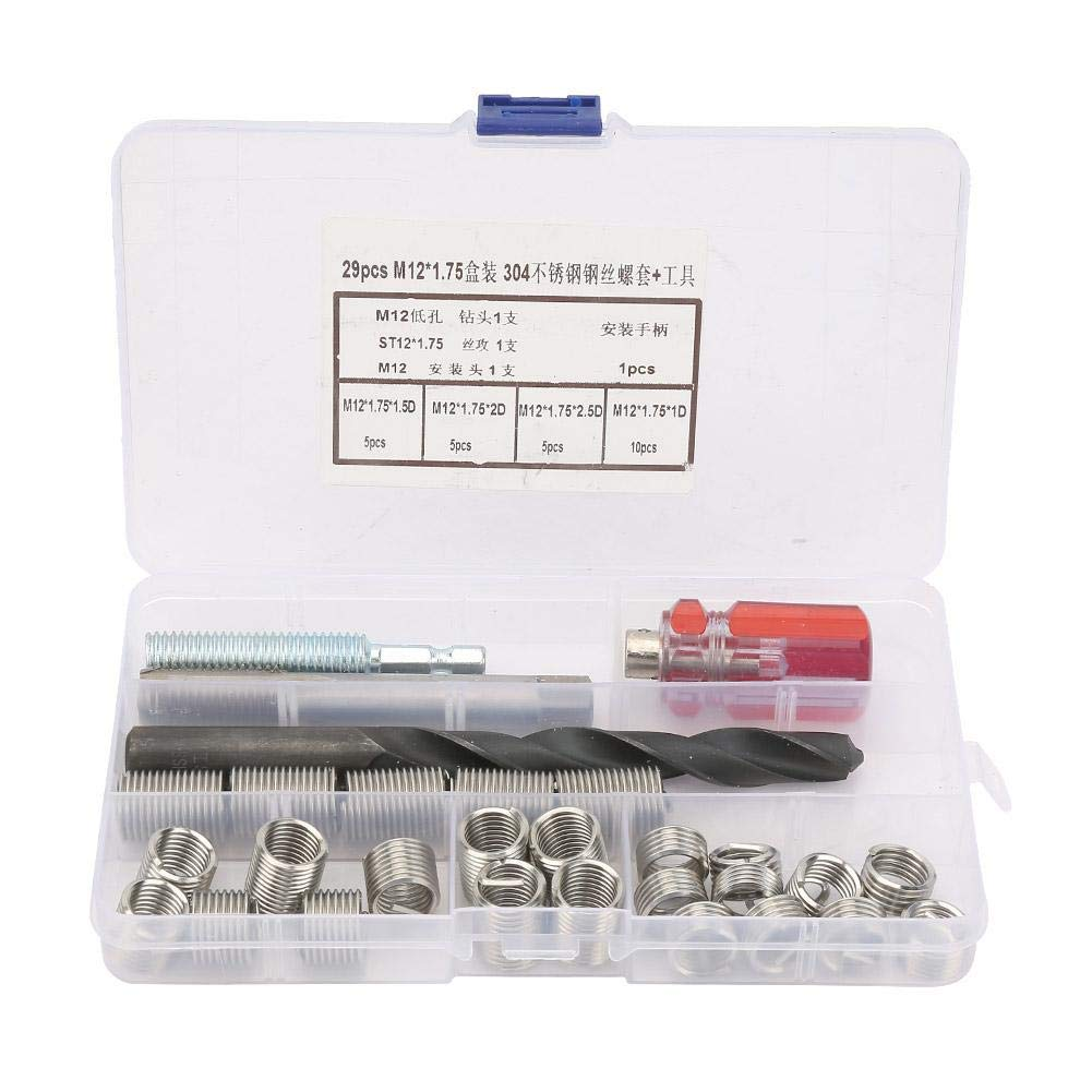 29pcs Threaded Inserts Repair Kit Stainless Steel Helicoil Type Wire Insert Installation Set(M121.75) by Hilitand