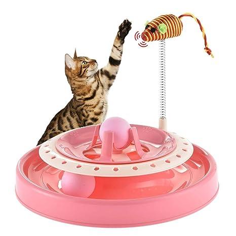 GSN Supermarket Pelota Turbo interactiva para Gatos, atrapa el ratón, rascador de Ejercicio,