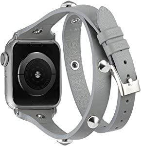 Moolia Compatible with Apple Watch Band 38mm 40mm for Women Girls,Slim Leather Double Wrap Around Srap Bracelet Replacement Wristband for iWatch Series SE 6 5 4 3 2 1 Sport Edition,Gray+SilverRivet
