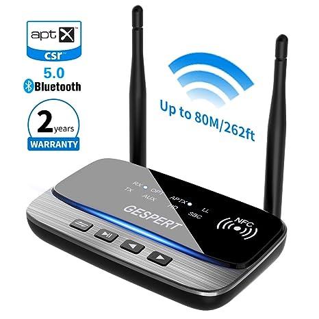 Bluetooth Adapter 5.0 Transmitter Empfänger, 262ft/80m Wireless Audio Sender Receiver NFC aptX Low Latency, AAC, RCA 3.5mm Au