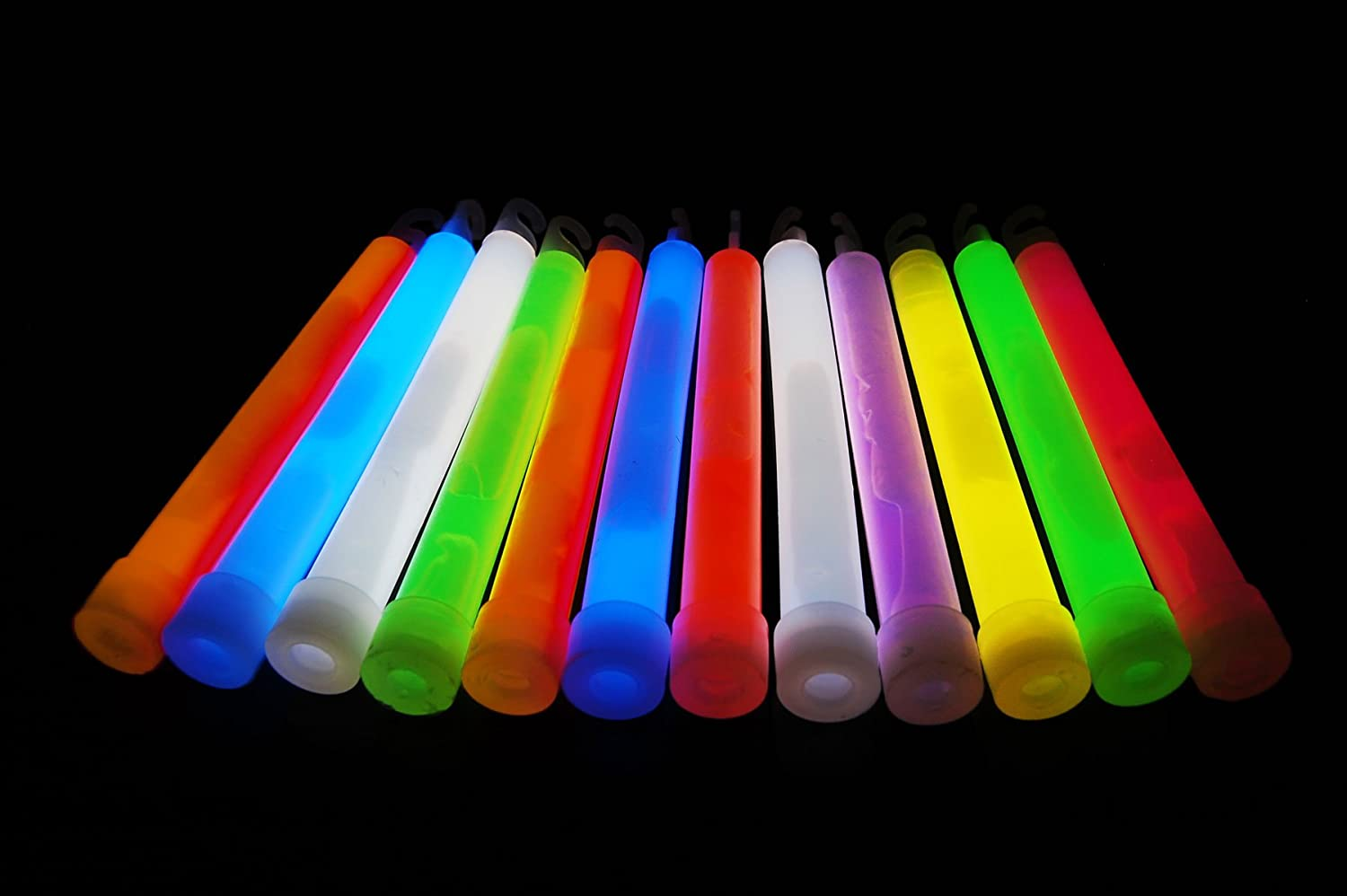 """GLOW-STICKS 6/"""" ASSORTED COLOURS PREMIUM QUALITY WITH LANYARDS packs of 25"""