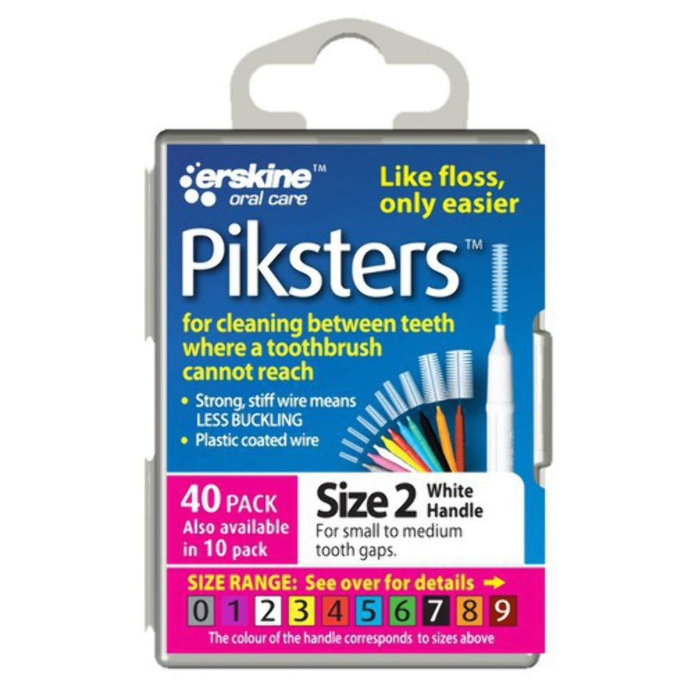 PIKSTERS - for cleaning between teeth-Size 2 (WHITE)- 40Pk by PIKSTERS PIK402