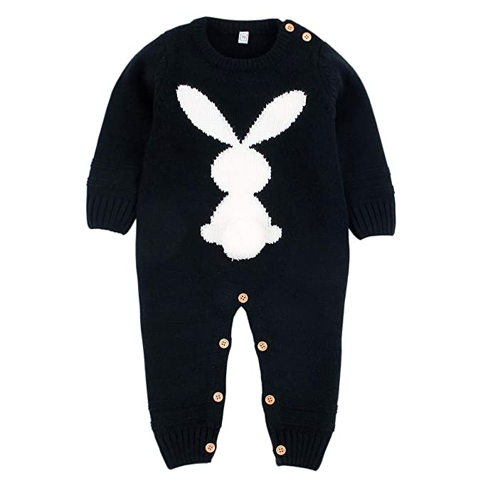 9a96a6440d7 Baby Girls Boys Rompers Cute Rabbit Bunny Knitted Long Sleeve Jumpsuit One  Piece Autumn Winter Kids Clothing  Amazon.co.uk  Clothing