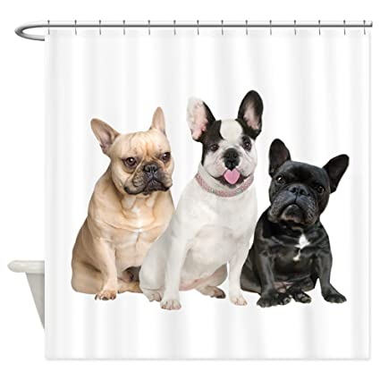 Image Unavailable Not Available For Color CafePress Three French Bulldogs Decorative Fabric Shower Curtain