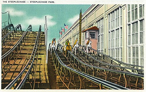 (Coney Island, New York - View of the Steeplechase Rollercoaster (16x24 SIGNED Print Master Giclee Print w/Certificate of Authenticity - Wall Decor Travel Poster))