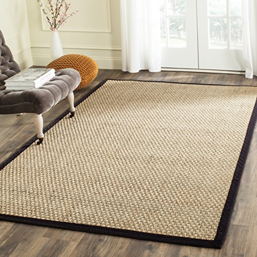 Safavieh Natural Fiber Collection NF114C Basketweave Natural and Black Summer Seagrass Area Rug (3' x 5') ()
