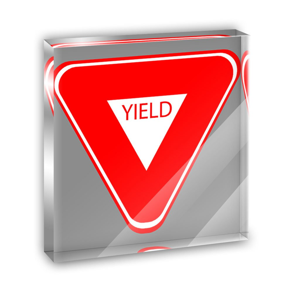 Yield Basic Red White Road Sign Acrylic Office Mini Desk Plaque Ornament Paperweight