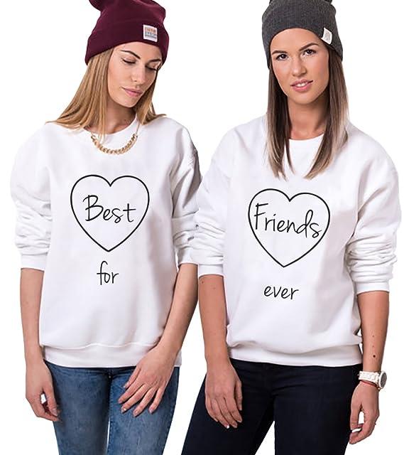 Best Friend Sudadera Mejor Amiga Suéter 2 Piezas Sister Impresión Best Friends Forever Cuello Redondo Manga Larga Sweatshirt sin Capucha Otoño Primavera ...