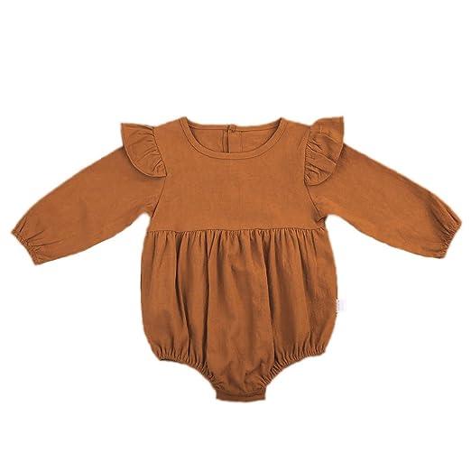 657b0152e037 Amazon.com  Infant Toddler Baby Girl Vintage Ruffle Long Sleeve ...
