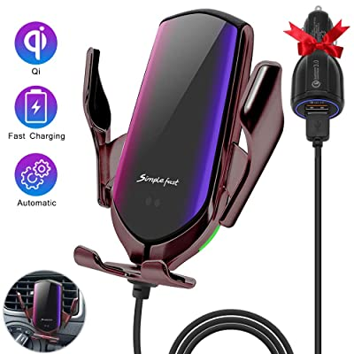 Wireless Car Charger Auto-Clamping Car Mount Air Vent Phone Holder & QC3.0 Car Charger 10W/7.5W/5W Compatible Galaxy S10/S10+/S9,Charging for iPhone 11/11 Pro/11 Pro Max/XSMax/XS/XR/X/8P/8 (Twilight): Electronics