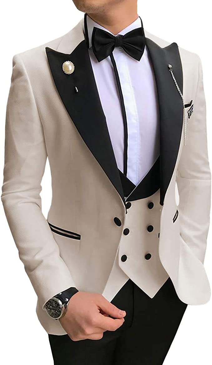 Jiaoyunshi Men Suit 2 Piece for Wedding Regular Fit V Neck Notch Lapel Tuxedo White Men Suit Jacket Vests Pants