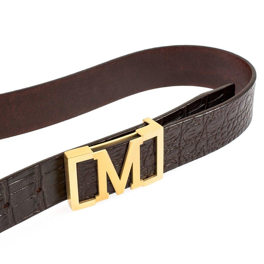 Mancala Mens Belt M Buckle Plate Belt Men`s Dress Belt with a Meticulous Workmanship Gift Box