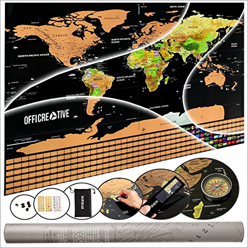 Scratch Off World Map Poster & Travel Map by OffiCreative   32.5 x 23.5 Inches Travel Map   with Compass, Magnifier, Scratcher, Pins, Emotion & Memory Stickers