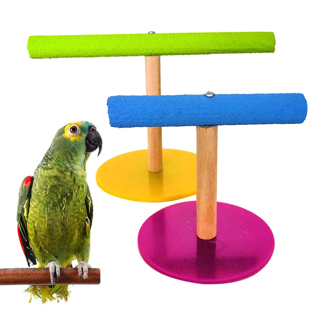 SEGRJ Wooden Pet Bird Parrot Cage Training Stand Perch Play Gym Budgie Parakeet Toy Parrot Stand Perch Toys Random Color S