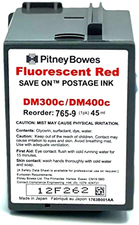 Save On Postage Ink Replacement for Pitney Bowes 765-9 Postage Machine Ink - Red Fluorescent Ink Cartridge Compatible with DM 300c, 400c, 450c & 475c