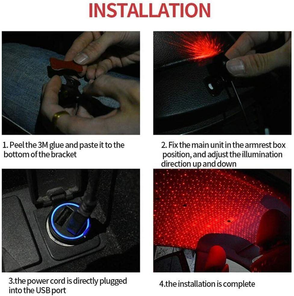 Autoinnenbeleuchtung Auto USB LED Auto Dach Stern Lichter Romantische Rote Meteorschauer Lichter Musik Sound Remote Fit Alle Autos Decke Dach Dekoration Lichtfarbe Rot