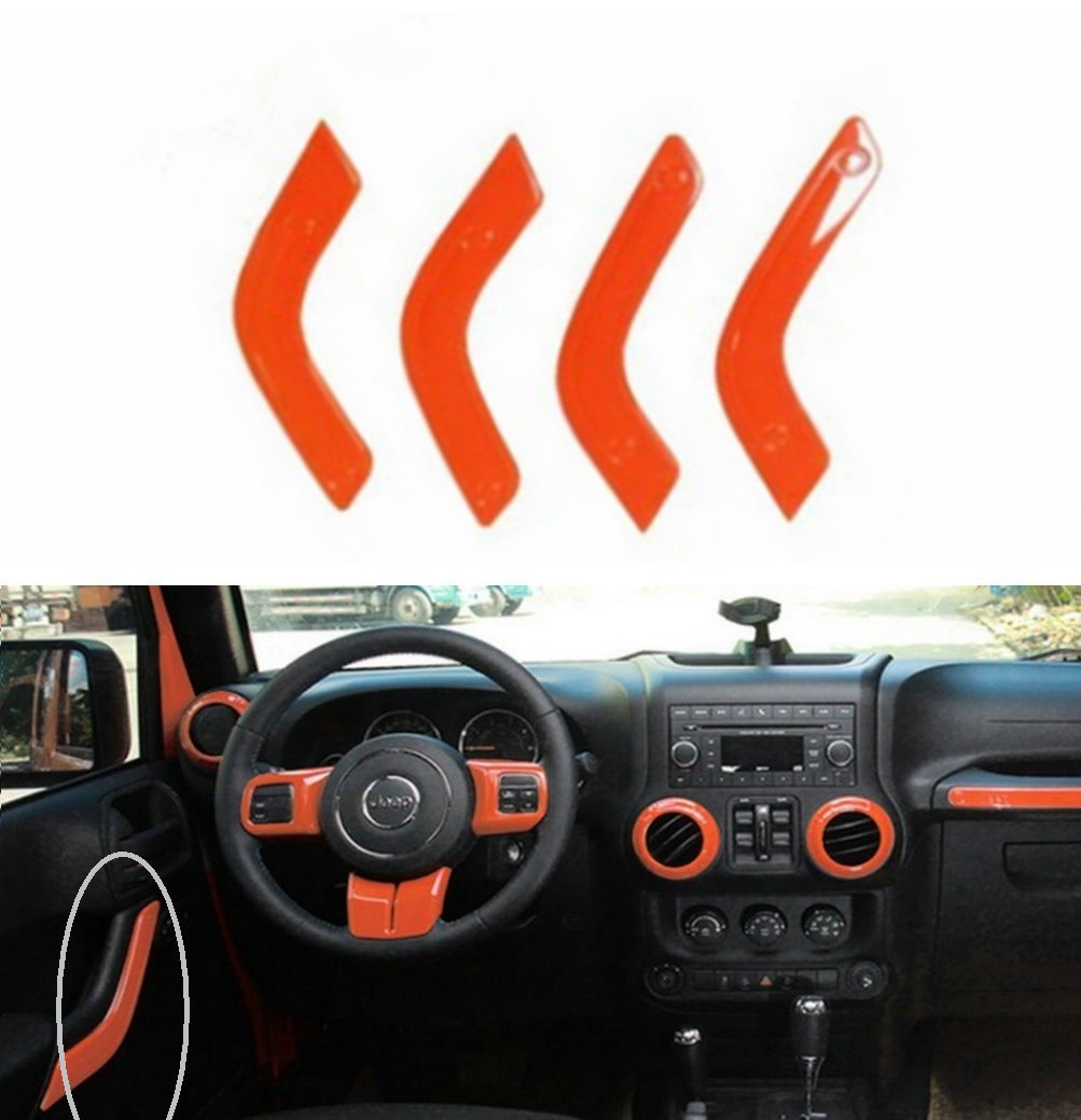 Blue Opall 21PCS Interior Decoration Trim Kit Steering Wheel /& Center Console Air Outlet Trim Door Handle Cover Inner Passenger Seat Handle Trim for Jeep Wrangler JK JKU 2011-2017