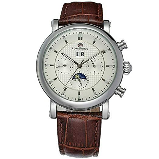 423792ceb5a84 FSG553M3S1 Best Price New Forsining Automatic Men Watch With Moon Phase  Brown Genuine Leather Strap  Amazon.co.uk  Watches