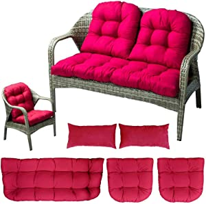 Indoor Outdoor 5 Piece Bench Cushion Set Wicker Settee Cushion with 2 Backrests Patio Wicker Seat Cushions+2 Lumbar Pillow,Loveseat Cushions for Furniture Patio Lounger Chairs Recliner (Rose Red)