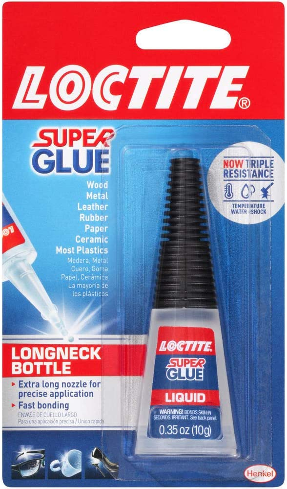 Loctite 234796 Super Glue All Purpose Adhesive, 10 G Longneck Bottle, Transparent Colorless To Straw, 0.457 CDM, Clear