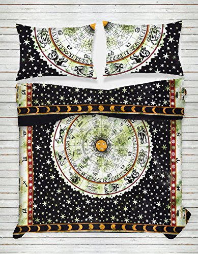 Third Eye Export Indian Medallion Duvet Coverlet Tapestry/Hippie Mandala Bohemian Cotton Bedding Comforter Set/Traditional Floral Print Quilt Blanket Bed Sheet/King-Queen Bedspread w/ 2 Pillow Covers Green Floral Blanket