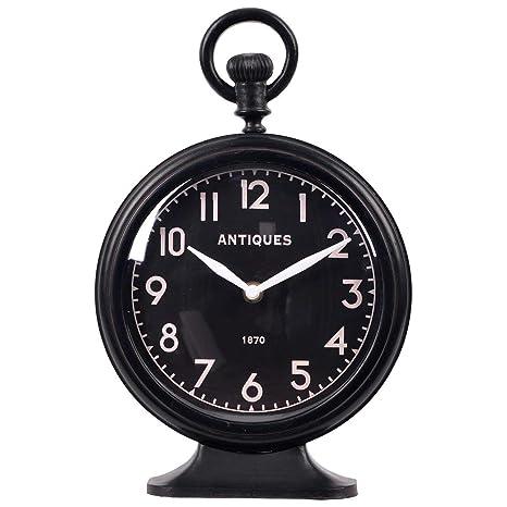 NIKKY HOME Reloj de Bolsillo Vintage diseño de Peltre Redondo Mesa de Escritorio Reloj Decorativo,