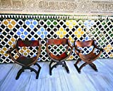 Old Chairs and Islamic Designs, Alhambra Palace, Spain, architecture, photo, photography, wall art, home decor, office decor, three sizes up to 17x25 inches, fine art print, signed by the artist.