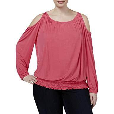 c7b7180180e INC Womens Plus Jersey Smocked Casual Top Pink 2X. Roll over image to zoom  in. INC International Concepts