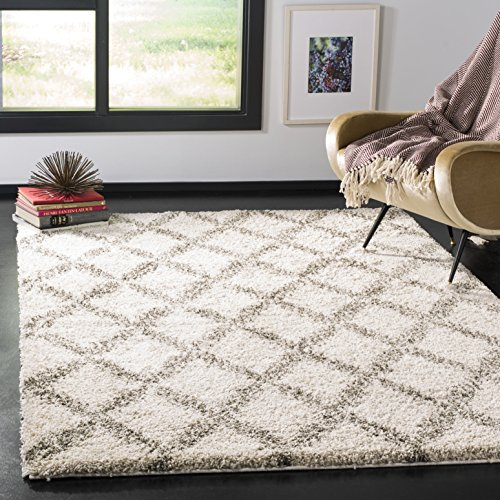 Safavieh Hudson Shag Collection SGH333A Ivory and Grey Area Rug 3 x 5