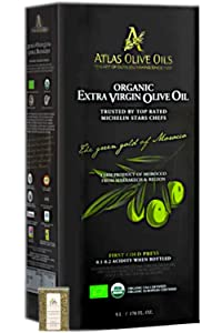 Atlas Olive Oils SARL, Moroccan Organic Extra Virgin Olive Oil (EVOO), 5 Liter, Cold Pressed, Polyphenol Rich, Imported from Morocco, 170 fl oz + Includes-Free Basil from Rhino Fine Foods, .071 oz