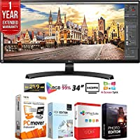 LG 34UM68-P 34 21:9 UltraWide FreeSync (2560 x1080) IPS Monitor + Elite Suite 18 Standard Editing Software Bundle + 1 Year Extended Warranty