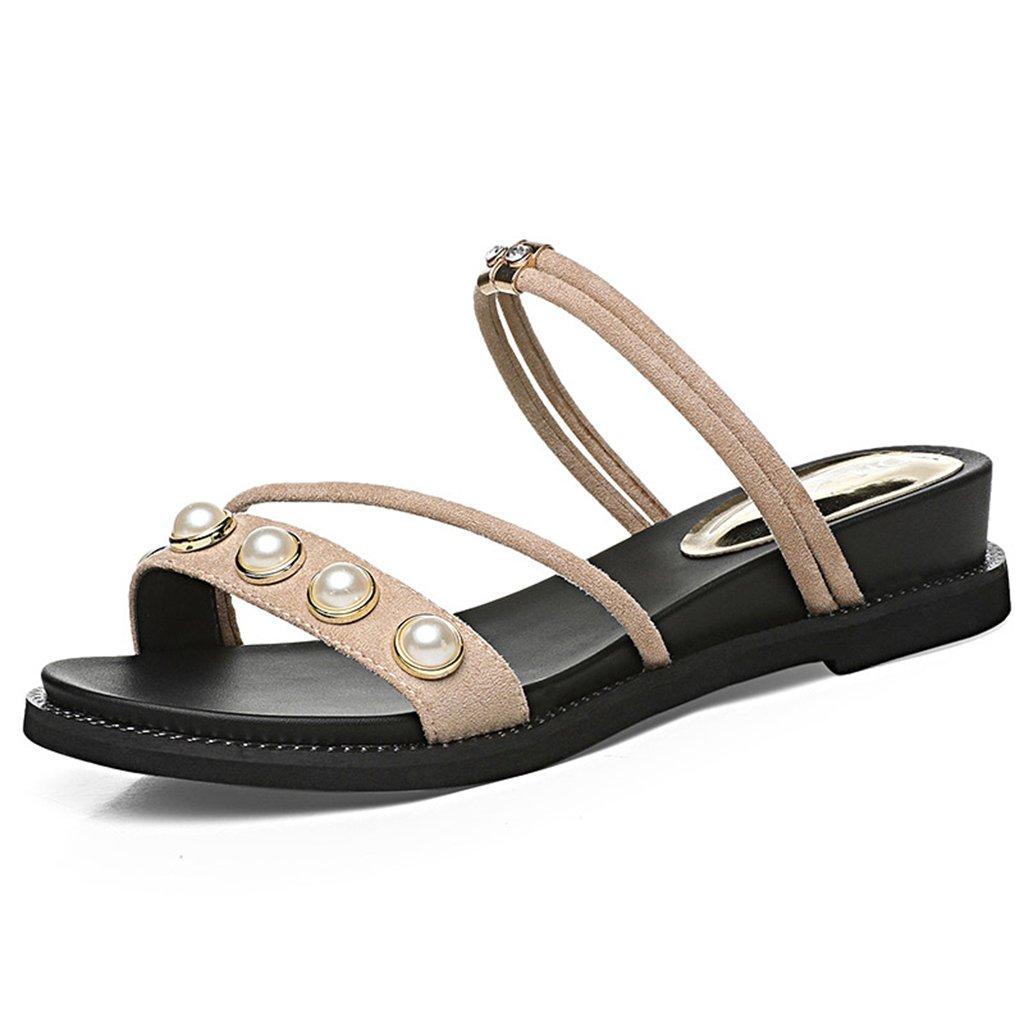 Sandalias XW Zapatillas de Verano Dos Desgaste Punta Abierta Scrub Vamp Mujer Verano Zapatos Planos Zapatillas Zapatos De Mujer para Mujeres Chicas (Color : Beige, Tamaño : EU36/UK3.5/CN35)