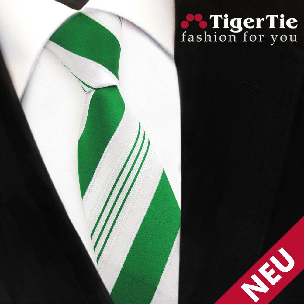 TigerTie - corbata estrecha - verde verde esmeralda blanco plata ...
