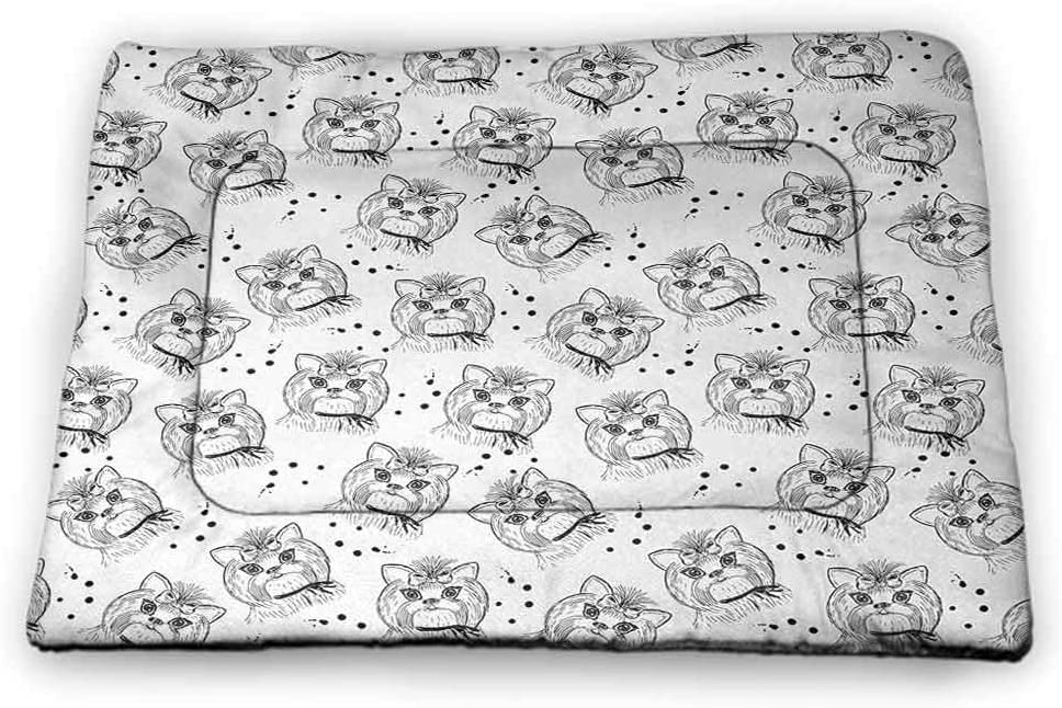 Nomorer Pet Mats for Dogs Black and White Rectangle Mat for Dogs and Cats Bengal Tiger Lying in The Grass Africa Savannah Monochrome Image Print Black White