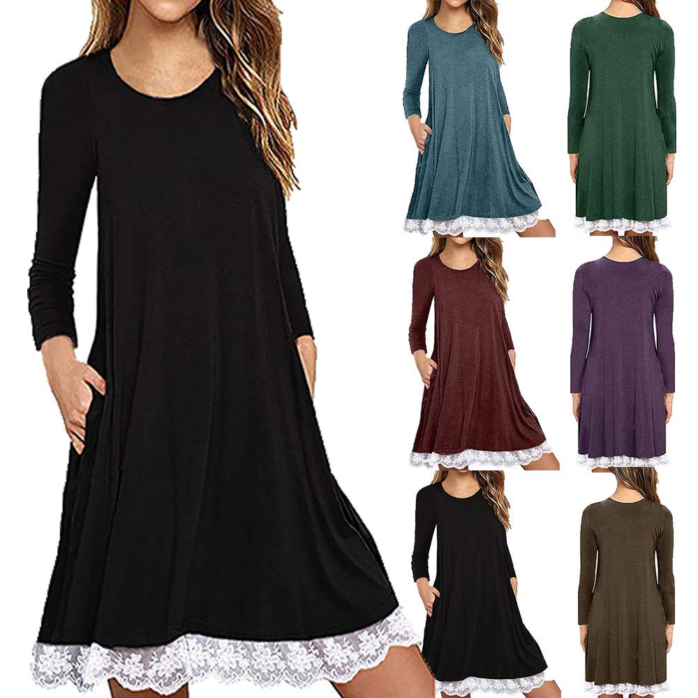 Amazon.com: iHPH7 Women O Neck Casual Lace Short Sleeve Above Knee Dress Loose Party Dress: Clothing