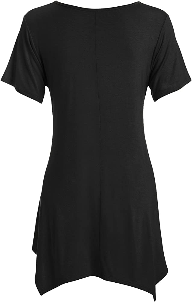 a2ca0e15202178 Black Tunic Tops for Women Black Short Sleeve Flowy Tunic Top, Black, Small  at Amazon Women's Clothing store: