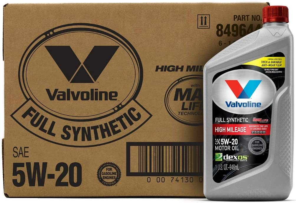Valvoline Full Synthetic High Mileage with MaxLife Technology SAE 5W-20 Motor Oil 1 QT, Case of 6