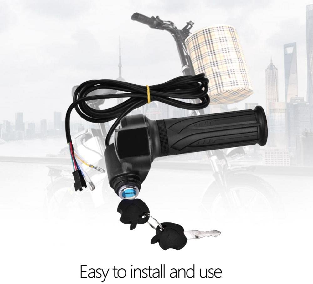 Alomejor Bike Grip Electric Bike Throttle Grip Electric Scoooter Battery Voltage LED Indicator Power for Electric Bicycles