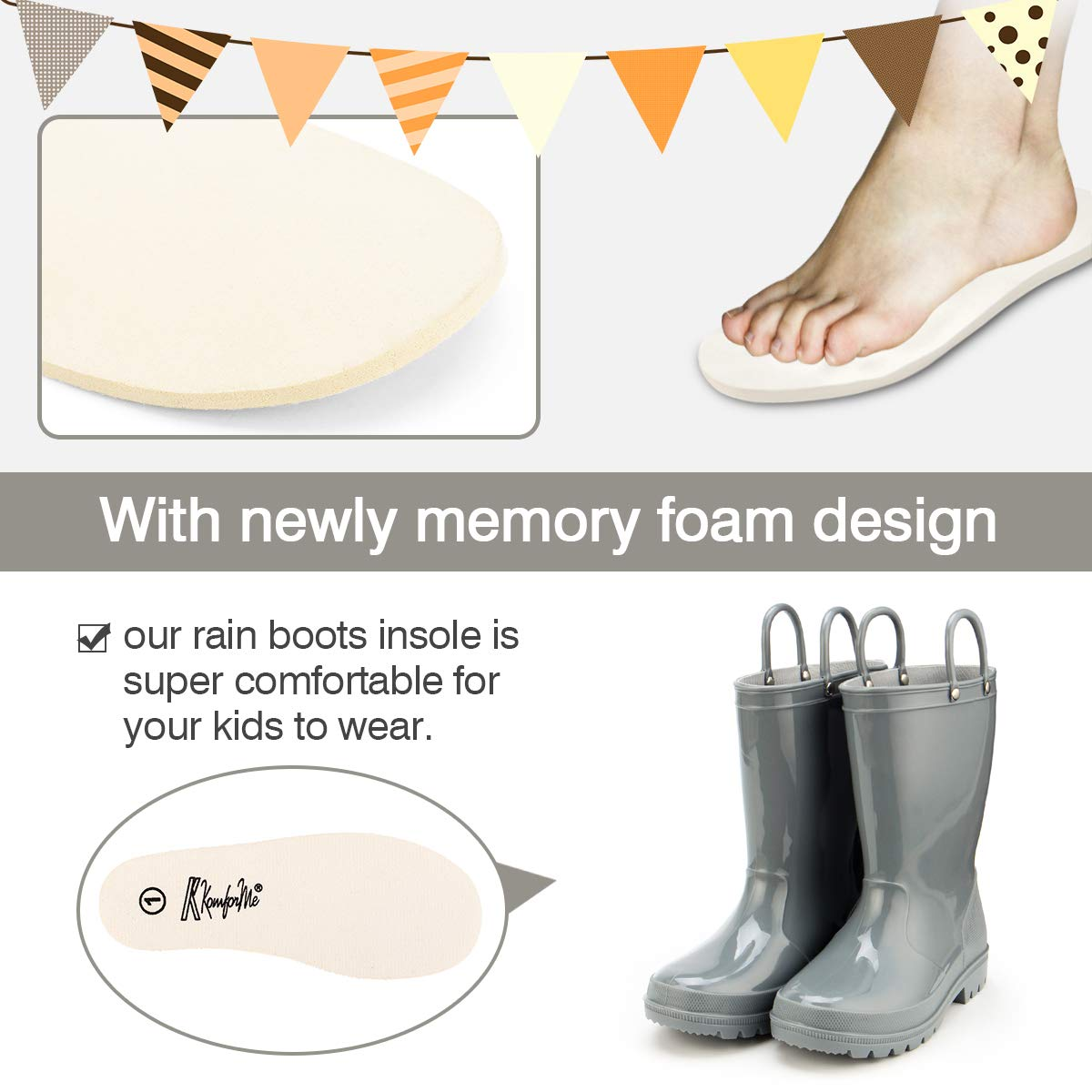 KomForme Kids Rain Boots, Environmental Material Boots with Memory Foam Insole and Easy-on Handles Grey by KKomForme (Image #5)