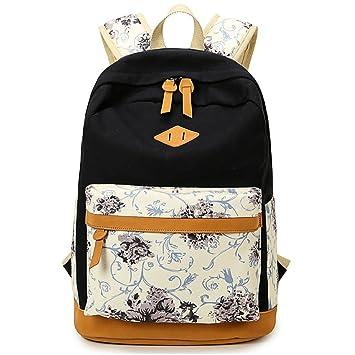 95c101018d070 Inwagui Mode Damen Mädchen Blumen Rucksack Groß Schultaschen Retro Canvas  Freizeitrucksack Jugendliche Rucksäcke Für Universität