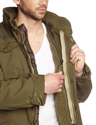 Verde cuello Chaqueta Surplus mao con para manga larga Gewaschen Oliv de hombre HAWwzW4Oq