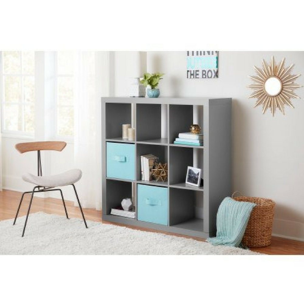 Better Homes and Gardens 9-cube Organizer Storage Bookcase Bookshelf Cabinet Divider (Gray) by Better Homes and Gardens