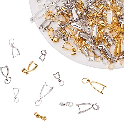 Sterling Silver Gold Plated Pinch Bail with Loop 15x5mm for Crystals Pendants