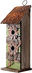 """Glitzhome 14.45"""" H Wooden Garden Bird House Hanging Two-Tiered Distressed with Flowers"""