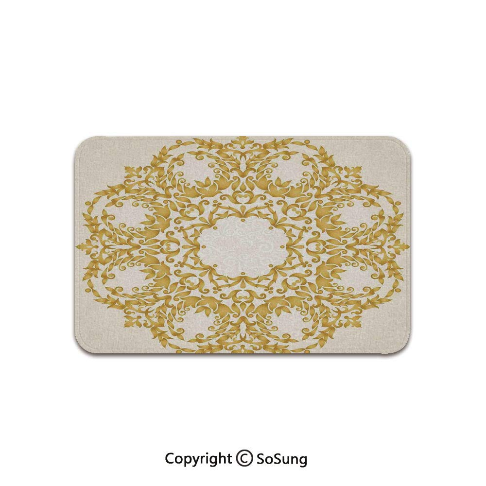Victorian Decor Area Rug,Traditional Gold Floral Round Circle with Baroque Elements Turkish Ottoman Style Art,for Living Room Bedroom Dining Room,6'x 3',Cream by SoSung