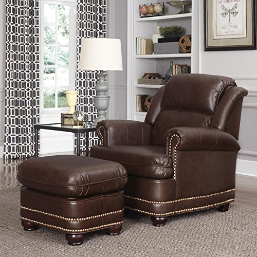 Home Styles 5200-100 Beau Stationary Chair and Ottoman, Brown ()